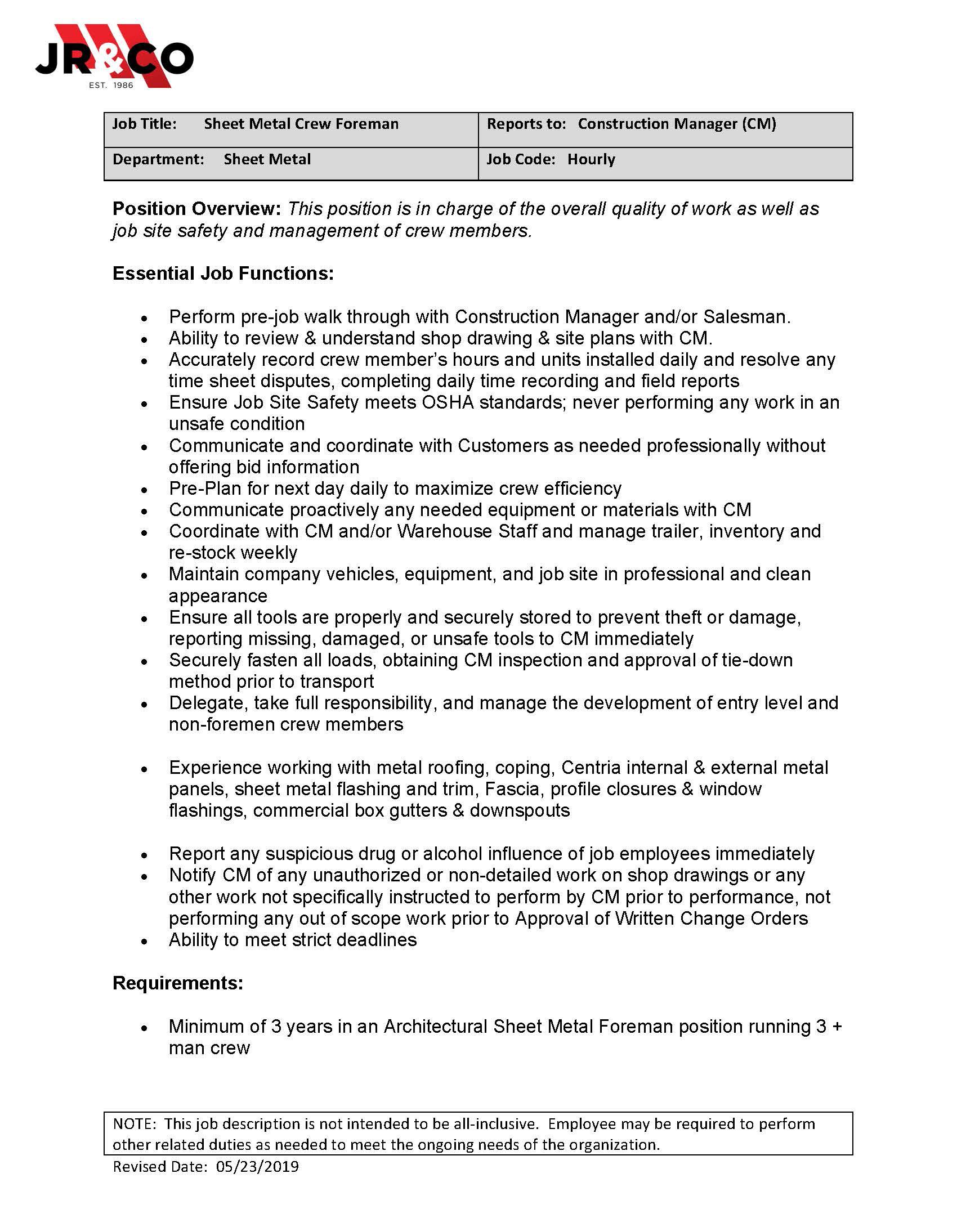 JR & CO - Apply: SMH Crew Forman